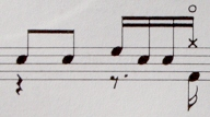 イントロ2に分割したドラム譜