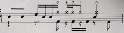 オールデッドの一小節部分ドラム譜