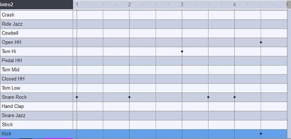 イントロ2のパターンを打ち込んだ画面
