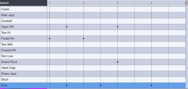 イントロ3のドラムパターンを打ち込んだ画面