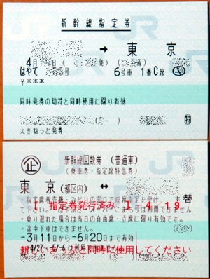 新幹線指定券と回数券