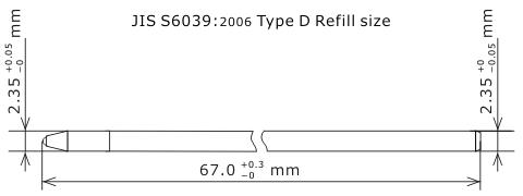 JIS規格 形式Dリフィルサイズ