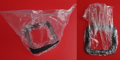 写真7 防水具ゴム製フランジへのPE袋装着
