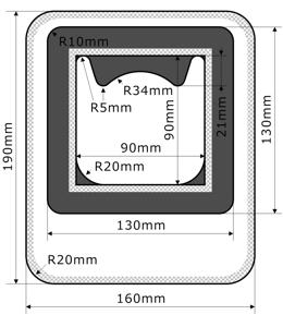 ストーマ装具の改良型入浴用防水カバー 位置合せ付きショートタイプ
