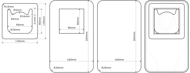 自作ストーマ装具防水カバー(左からポリエチレンフォームフランジ、開口部ありポリエチレンフィルム、ポリエチレンフィルム、ヒートシール成型後とストーマ装具へのカバーイメージ図)
