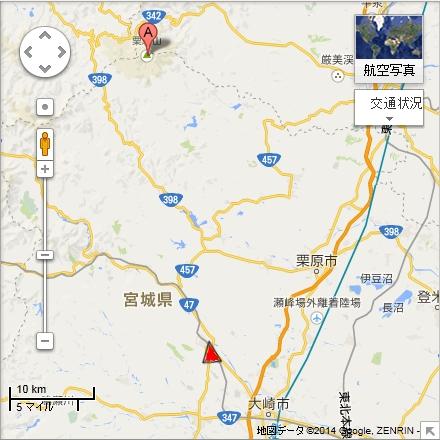 バルーンフェスティバル会場(赤三角地点)と栗駒山(A地点)地図(Google mapより)