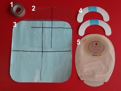 ダンサック ノバライフ1 ミニ防水材料(1.優肌絆 スキンカラー 、2.ポリエチレンフィルム、 3.カテリープFSロール、 4.優肌パーミロール、 5.ダンサック ノバライフ1 ミニ)
