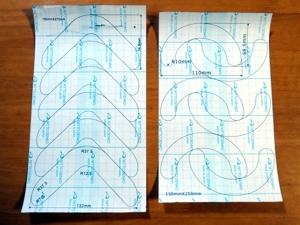 優肌パーミロール15cm幅製品に面板周囲貼付ドレッシング材切抜き用印刷(左;ダンサック ノバ1ミニ用、 右;ダンサック ノバライフ1ミニ用)