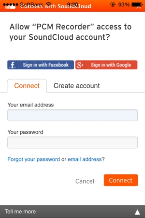 SoundCloud AddとPW入力