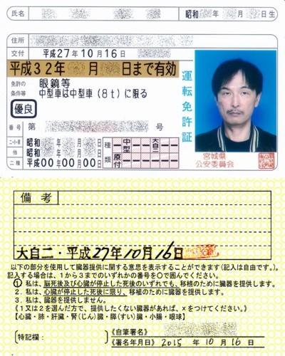 20151016交付KenU運転免許証