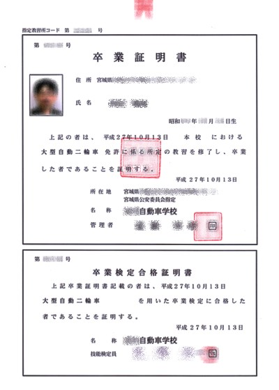2015KenU大自二輪卒業検定合格証明書