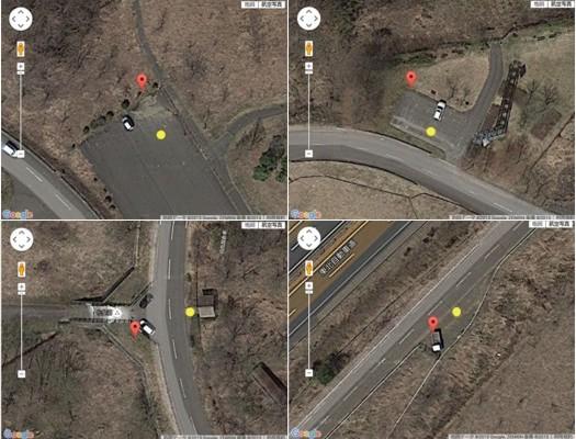 GPSずれ(Googleマップポイント表示と実際の場所(黄色丸印))