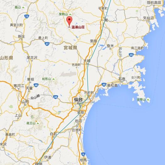 仙台藩花山村寒湯番所跡地図 Googleマップより