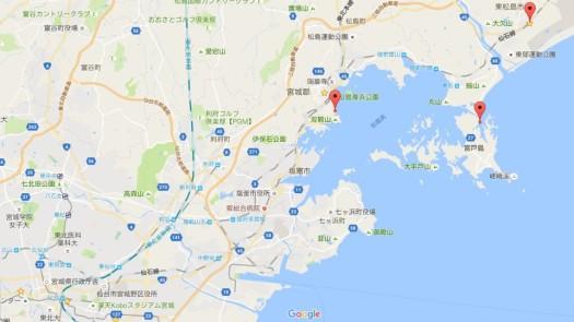 松島ツーリング撮影場所の地図