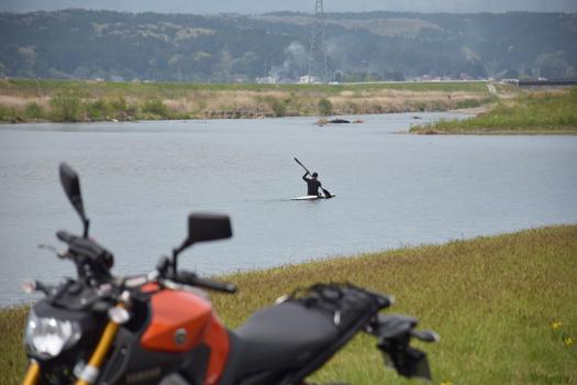 鳴瀬川でカヌーをする人