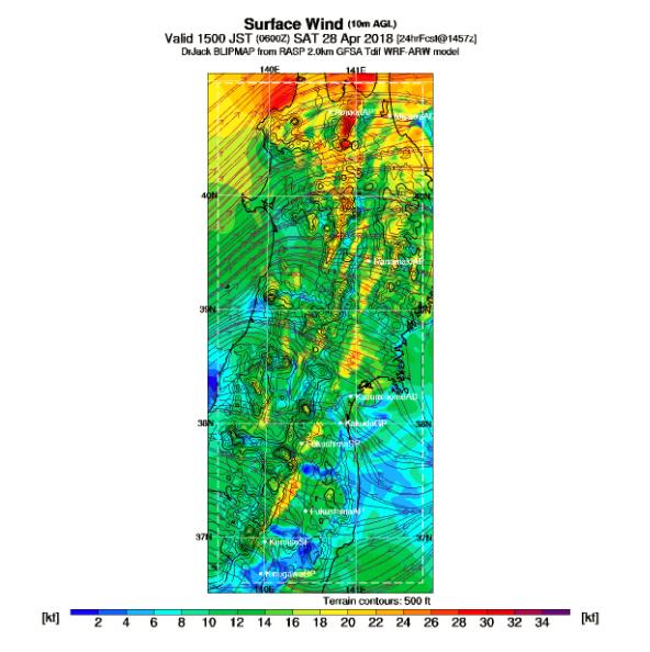 BLIPmap tohoku 20180428 15時SurfaceWind