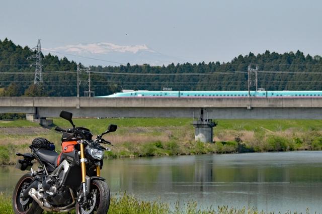 東北新幹線とMT-09と船形山と鳴瀬川