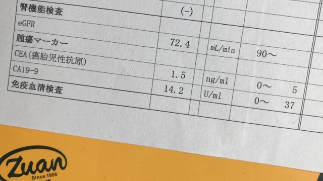 20180510血液検査腫瘍マーカー値結果