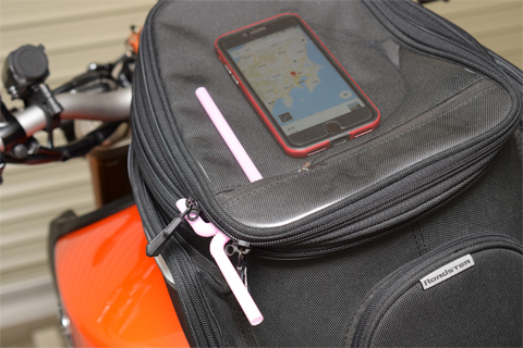 YAMAHAタックバッグとiPhone7とグーグルマップ