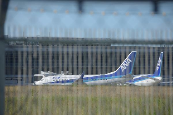 仙台空港北側フェンス越し空港ターミナルに駐機中の旅客機.jpg