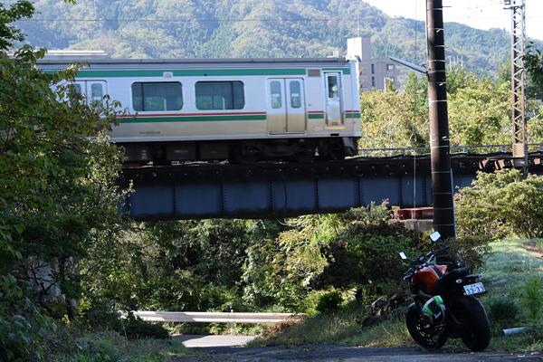仙山線陸前落合広瀬川橋梁とMT-09