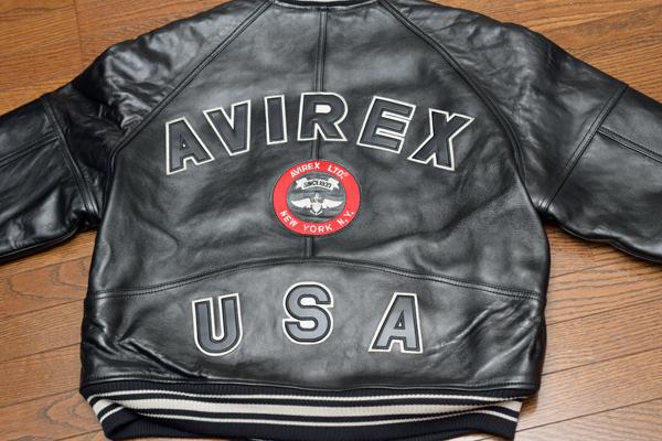 AVIREX 羊革VARSITY JACKET 背面ワッペン