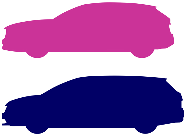 メルセデスベンツGLA220とトヨタマークXジオのサイドシルエット